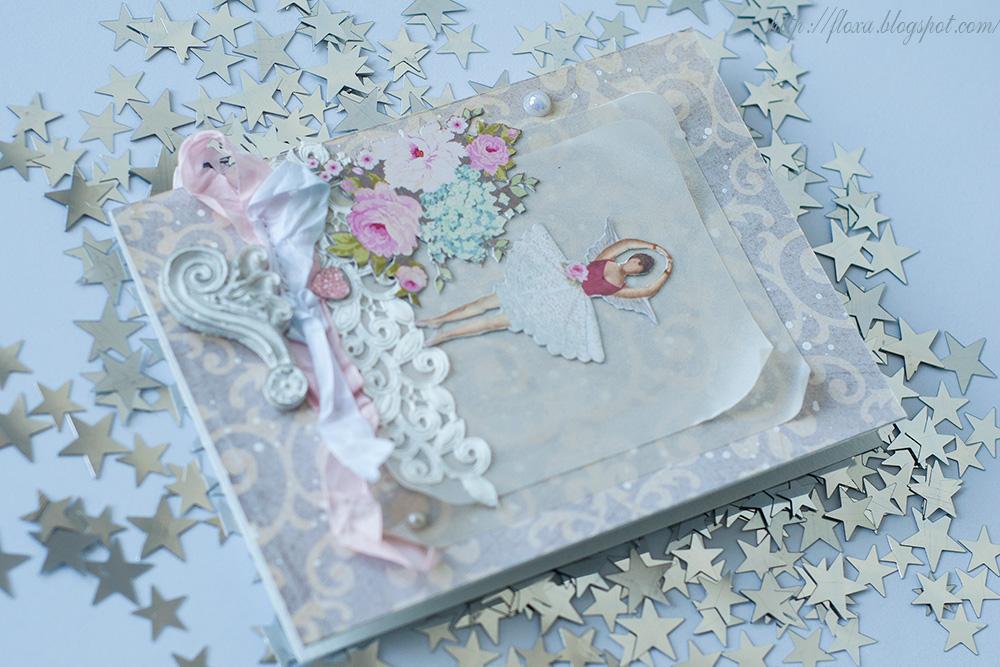 открытка балерина с крыльями, тильда открытка, тильда скрап, открытка о балерине которая летает