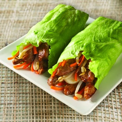 Lettuce Rolls stuffed with chicken Mexican style barbecue oriental style Complete meal Recipe in english
