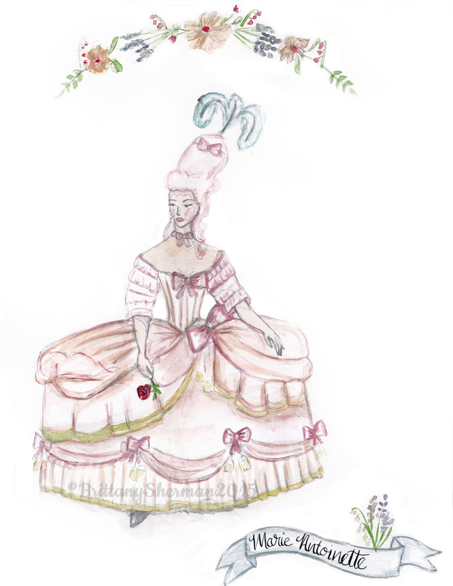marie antoinette watercolor art print by Brittany Sherman 2015 at Wacky Tuna on etsy