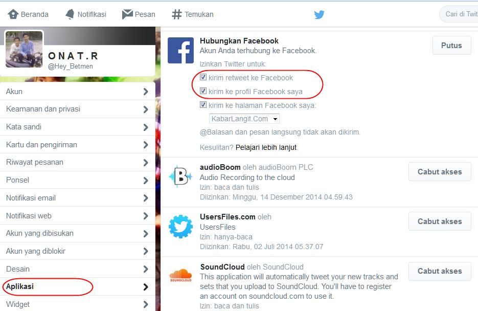 Menghubungkan Twitter Versi Baru Dengan Facebook