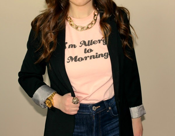 zazzle-im-allergic-to-mornings-graphic-tee, pretty-little-liars-emily-im-allergic-to-mornings-tee, pretty-little-liars-style, express-super-high-waist-jean-jeggings, express-24-inch-studio-stretch-notch-collar-blazer, movado-bold-luxe-chronograph-watch, merona-natasha-mid-heel-pump, express-chunky-chain-link-necklace