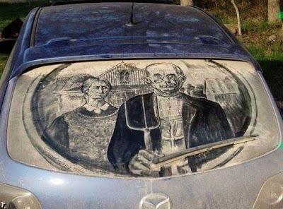 गाडीच्या धुळी वर काढलेली चित्रे - Car Dust Art