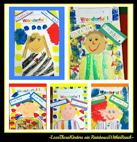 "Children's Self-Portraits in Response to ""You're Wonderful"" by Debbie Clement (from Love those Kinders)"