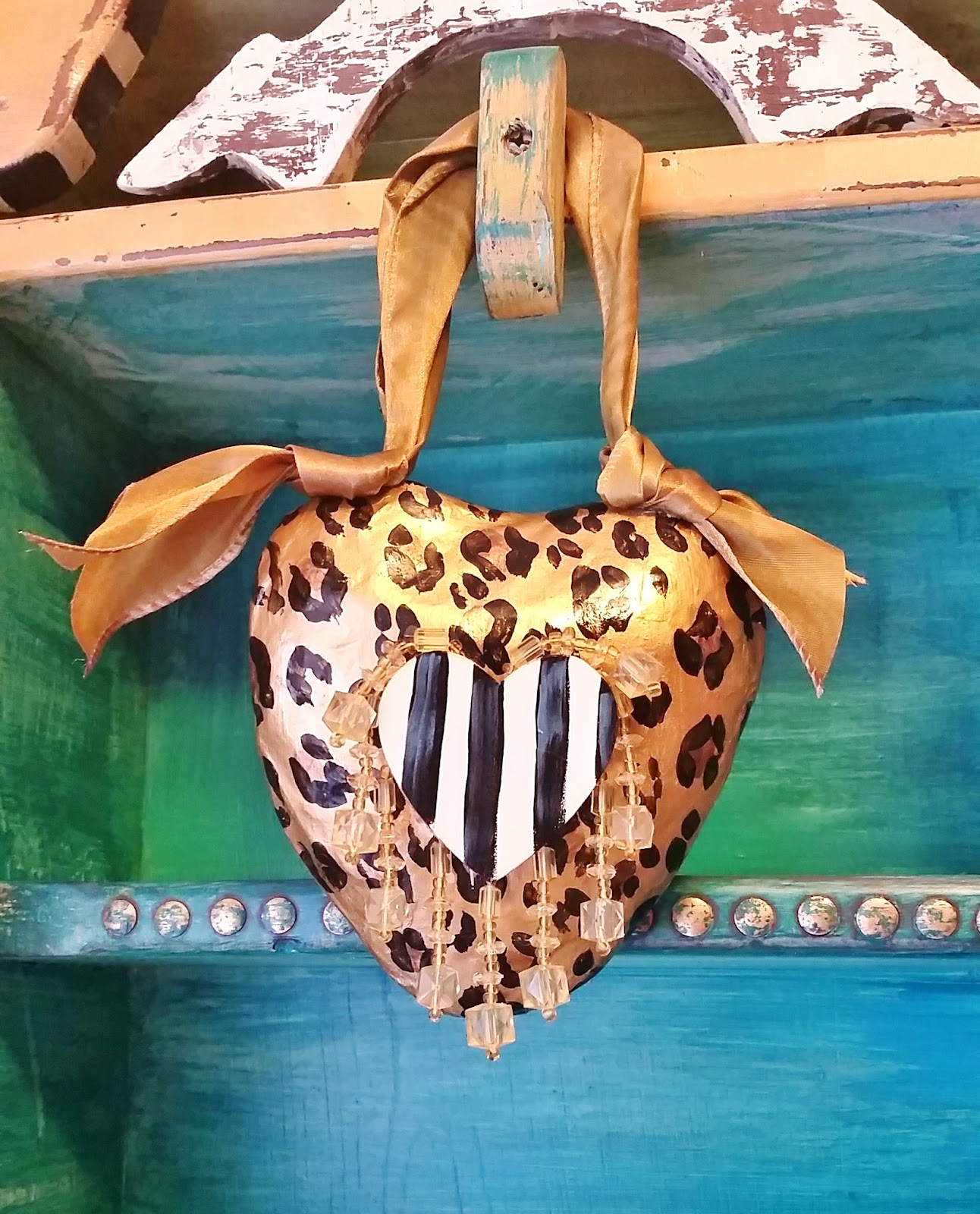 hand painted animal print heart door knob hanger ornament, gift