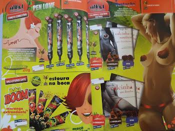 canetas e calcinhas comestiveis