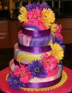 tie dyed fondant wedding cake