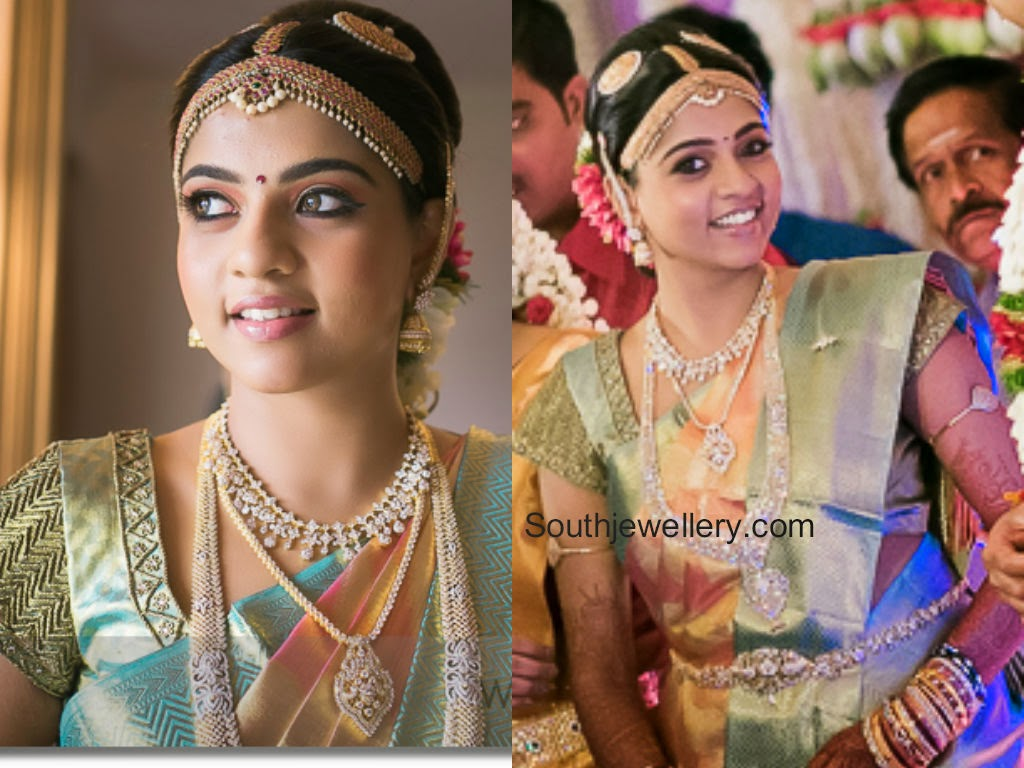 south indian bride in diamond jewelry