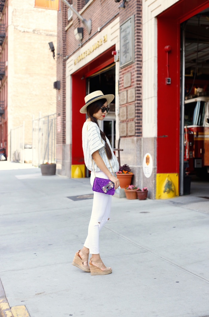 Lack of color straw hat, free people shade wrap top, gedebe mini v clutch, asos ripped jeans, tory burch wedges, karen walker harvest sunglasses, fashion blog, nyc street style, summer outfit ideas