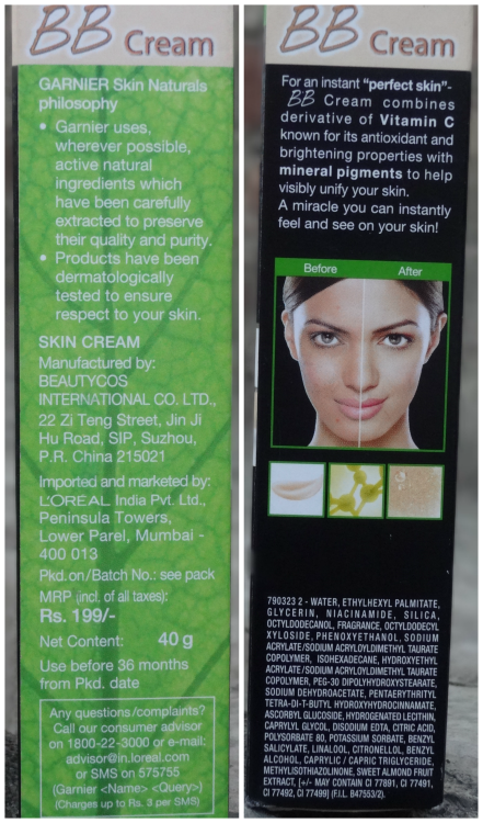 Garnier BB Cream Miracle Skin Perfector SPF 24 Packaging