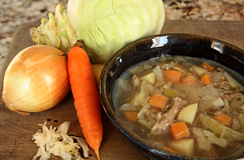 Cabbage Soup - Soup is a great way to get minerals, veggies and grass-fed meat for the Wahls Diet