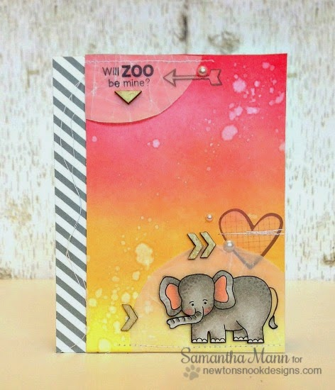 Will zoo be mine elephant Valentine Card by Samantha Mann | Newton's Nook Designs | Wild about Zoo Stamp Set