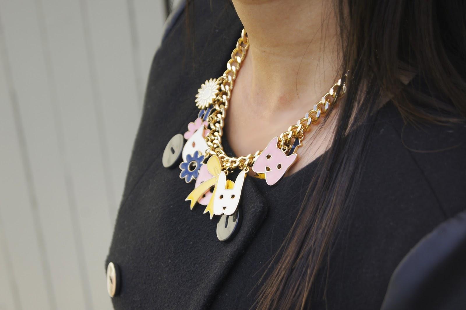 karen walker necklace, 2012, 2013, diy hand bag, portman leather jacket