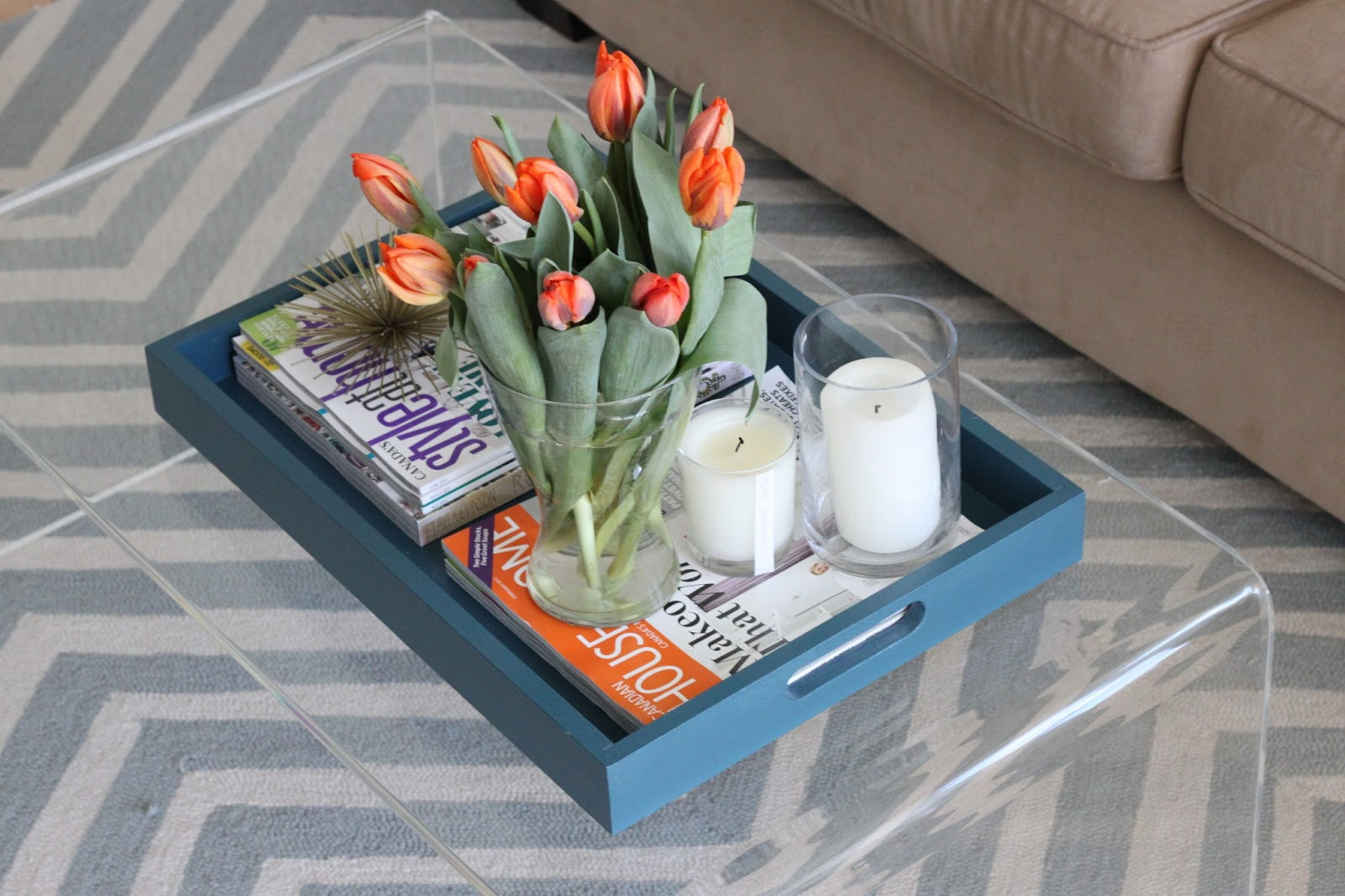 Iu0027ve Been Dying For A New Coffee Table For A While Now. The One Weu0027ve Had  Was Bought At A Thrift Store And I Gave It A Makeover With A ...