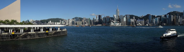 Panoramic view of Hong Kong Skyline buildings on the Hong Kong Island from Star Ferry Pier in Hong Kong
