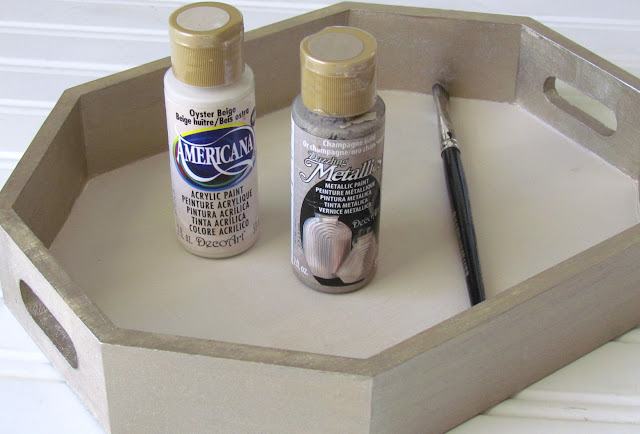 Painted wood tray using DecoArt Paints