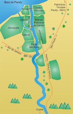 Mapa dos bairros de Parati