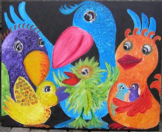 Party birds maleri til børn unge &; sorg