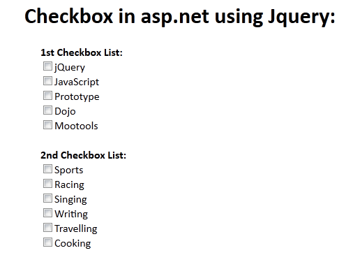 Check Uncheck all html CheckBox controls using jQuery: