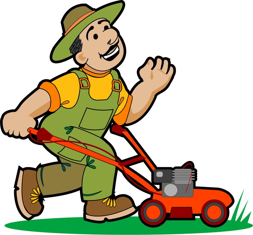 芝生の草刈り garden pruning work イラスト素材