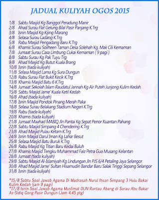 Jadual Kuliah Ustaz Azhar Idrus Bulan OGOS 2015