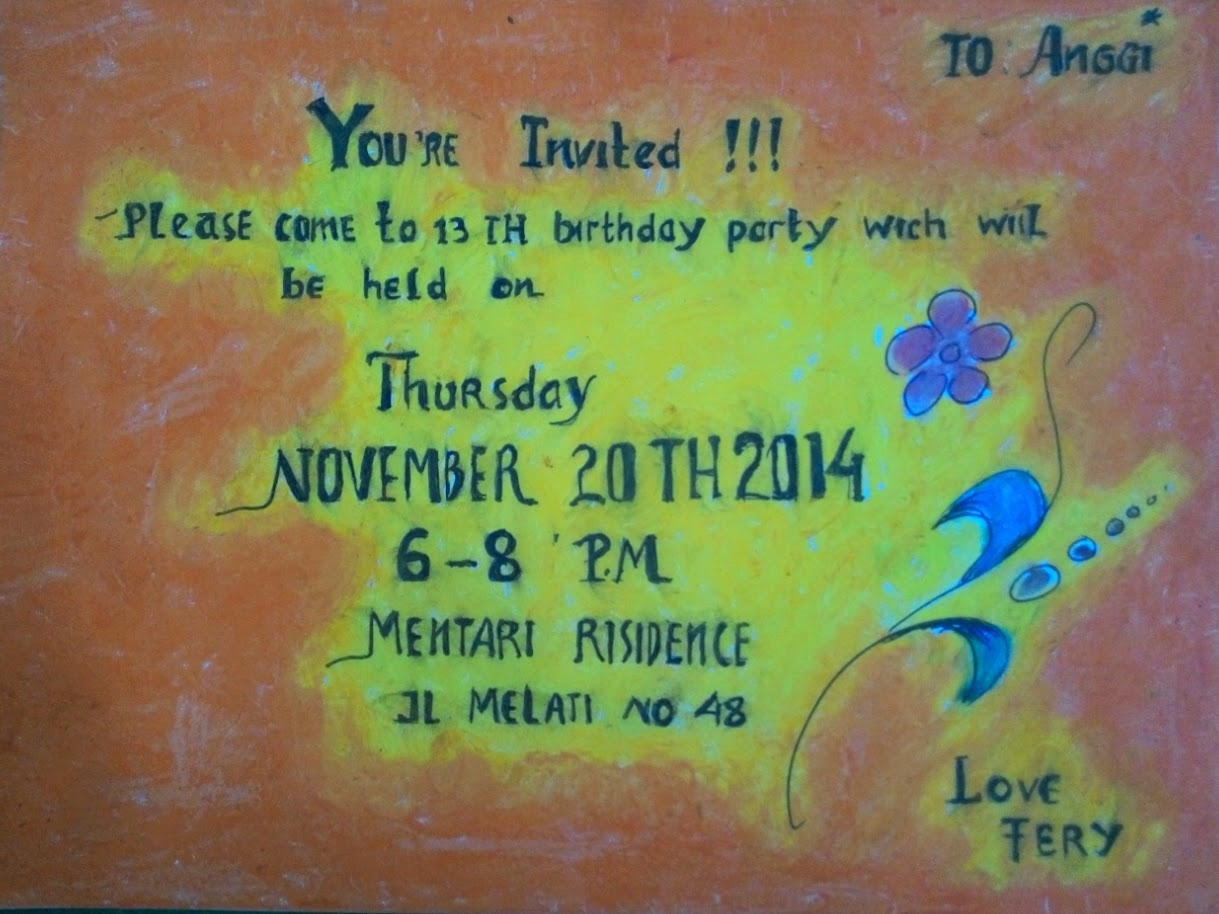 Products and examples of invitation card created by students of smp birthday invitation card created by adinda dwi cahyakusuma class 8b stopboris Images