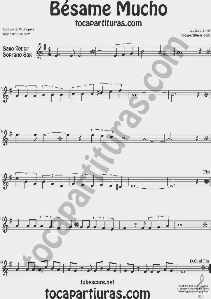 Partitura de Saxofón Soprano y Saxo Tenor Sheet Music for Soprano Sax and Tenor Saxophone Music Scores