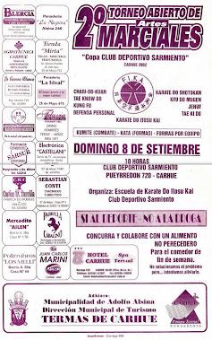 2º ABIERTO DE ARTES MARCIALES COPA CLUB DEPORTIVO SARMIENTO (CARHUE 08/09/2002)