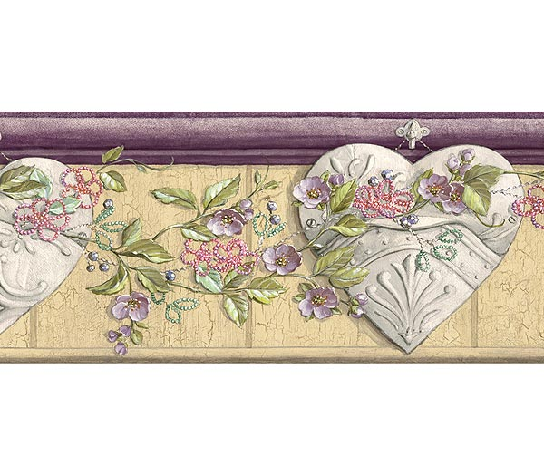 Collected Wallpaper Ceiling Tin Hearts Purple Wallpaper