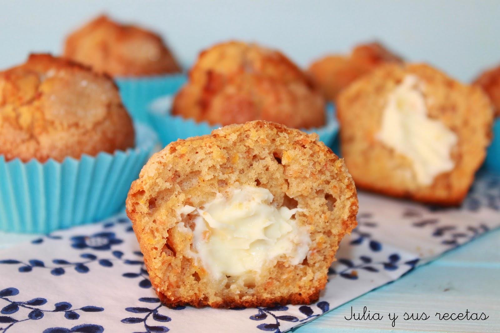 Julia y sus recetas muffins de zanahoria rellenos de - Madalenas o magdalenas ...