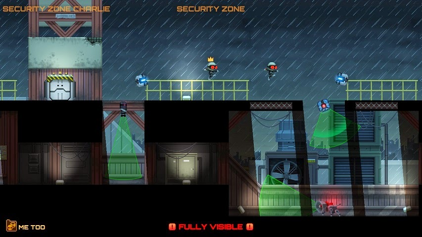 Screenshot of video game Stealth Inc. 2. The player's character is jumping in a rainy environment, and cameras can be seen searching the area.