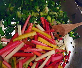 Multicolor Chard Stems Sauteing with Leeks