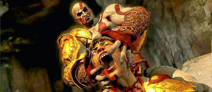 Kratos gives Helios a splitting headache......bad pun is bad...