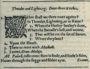 Shakespeare, Macbeth, First Folio 1623.