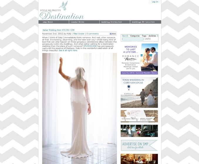 STUDIO 1208 is featured on Style Me Pretty Destinations