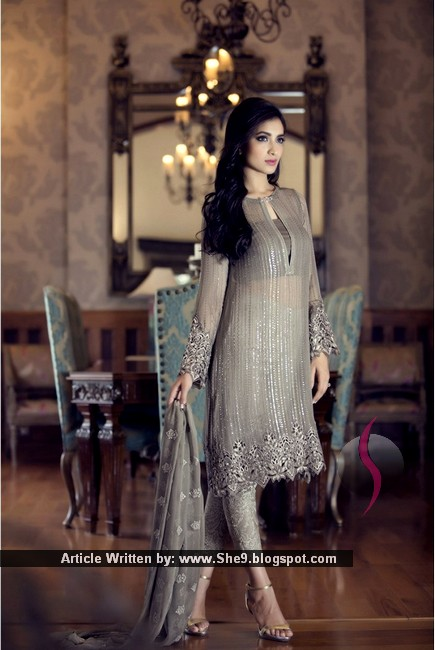 Semi Bridal Dresses Maria B Embroidered Eid Collection 2015 She9