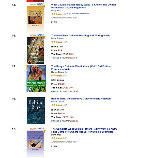 Barry Maz ukulele books in chart