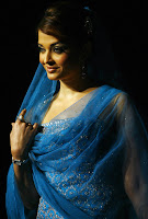 hot, sexy, Aishwarya Rai, blue dress, black saree, cleavage