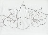 risco de peras e ameixas para pintar
