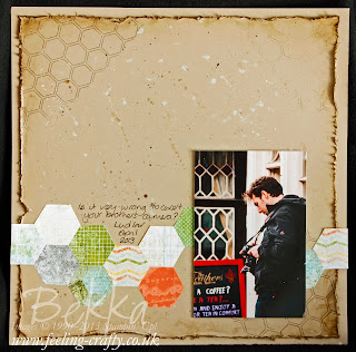 Epic Day This and That Scrapbook Page by Stampin' Up! Demonstrator Bekka Prideaux.  Great use of the Honeycomb Embossing Folder as a Stamp.  Check out her blog for other great ideas