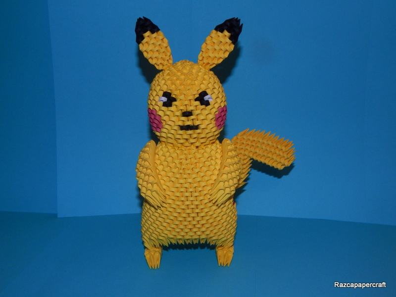 How to make a 3d origami pikachu