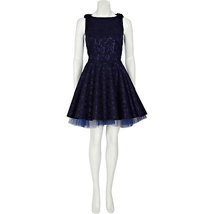 Navy Blue Lace Dress on River Island Navy Lace Bow Shoulder Mini Prom Dress   70