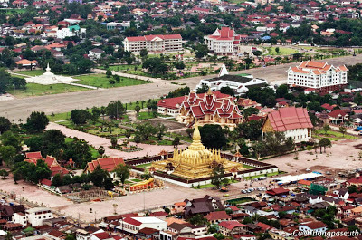 Elevated image of That Luang and surrounding area in Vientiane, Laos