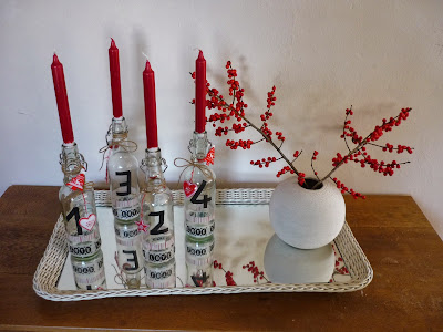 DIY Adventskranz rot Flaschen Maskingtape