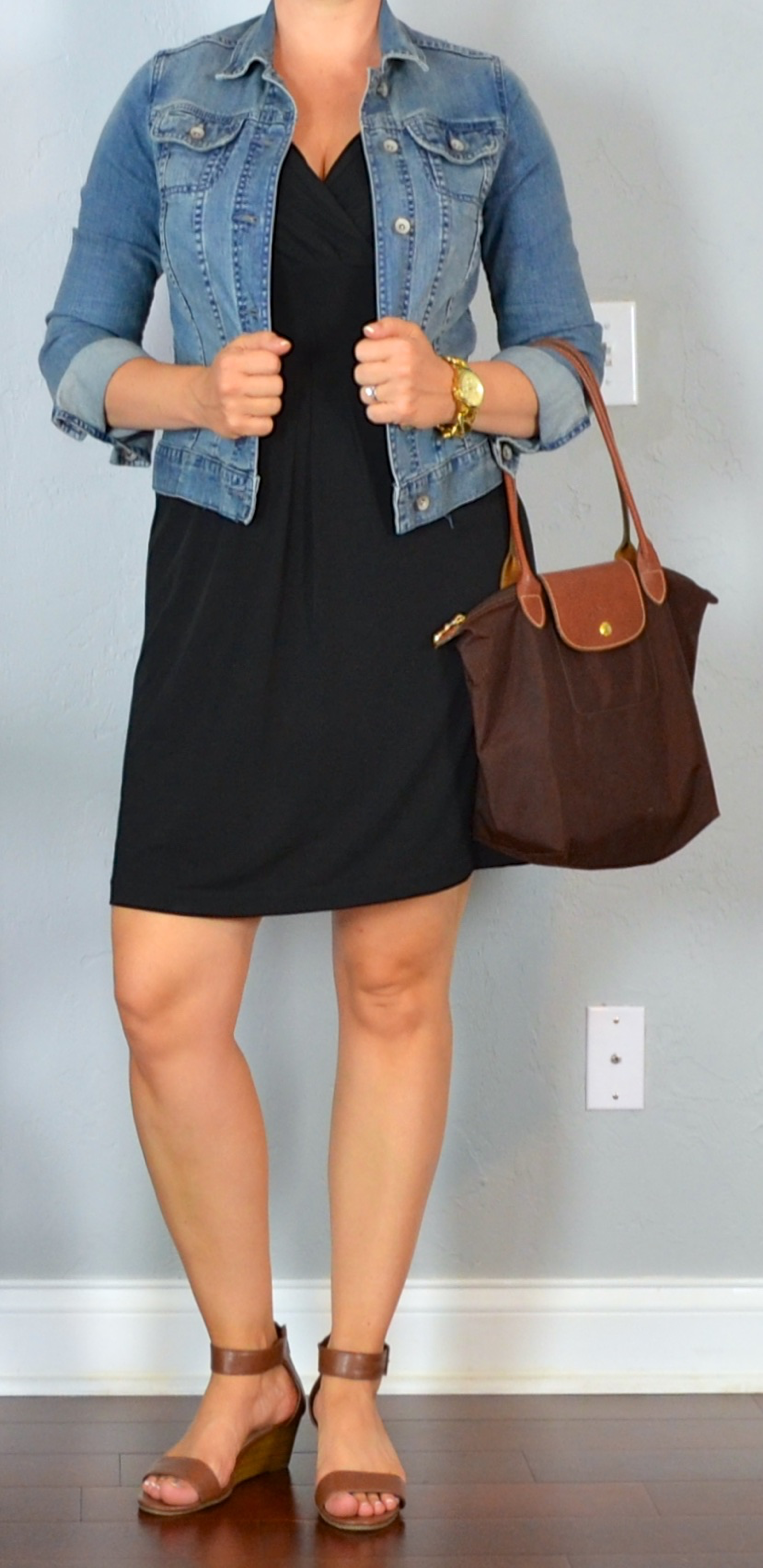 Outfit post little black dress jean jacket brown wedge sandals | Outfit Posts