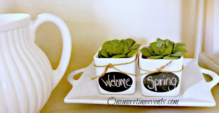 Welcome Spring Chalk board labels at One More Time Events.com