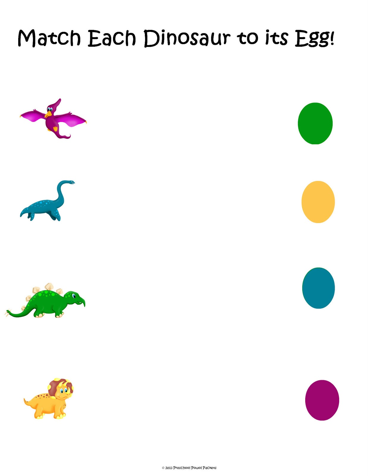 free dinosaur matching packet preschool powol packets