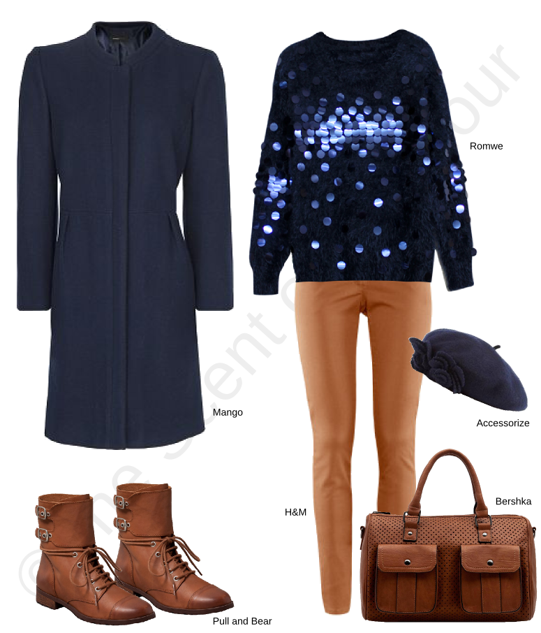 romwe blue jumper with sequins, h&m trousers, pull & bear boots, bershka brown bag, mango blue coat, accessorize blue beret