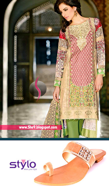 Zahra Ahmad Luxury Formal With Stylo Fawn Formal Chappal