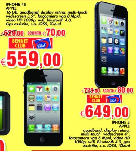 Per quasi tutto maggio la catena commerciale Bennet offre smartphone Apple iPhone 5 e iPhone 4s scontati tramite carta Club
