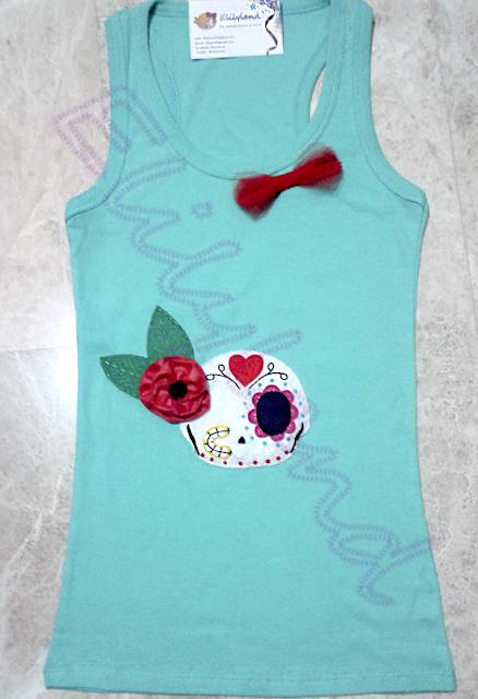 Camiseta Calavera mexicana Mini-Elily Hecho a Mano